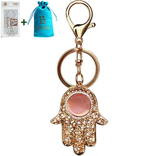Bolbove Hamsa Hand Keychain Sparkling Keyring Crystal Rhinestones Purse Pendant Handbag Charm (Pink) -