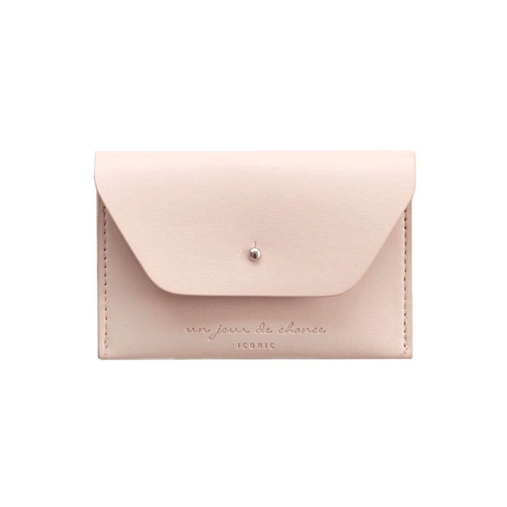 ICONIC Slit Card Simple Slim Leather Credit Card Holder Wallet Case Sleeve with Cover (Indi pink)