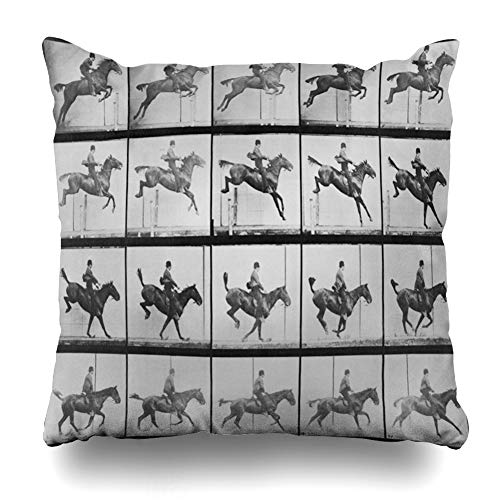 Ahawoso Throw Pillow Cover from Consecutive Riding Horse Eadweard Muybridge 39 Locomotion Historical Design Decorative Zipper Cushion Case Square 18