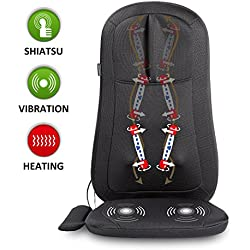 Snailax Shiatsu Massage Seat Cushion with Heat and 4 Rolling Nodes, Back and Neck Massager, Massage Chair Pad for Home Office use SL261-