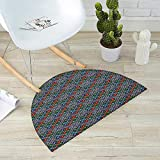 Ethnic Semicircular Cushion Traditional Folk Pattern in Knitting Form South American Ecuador Geometric Tropical Entry Door Mat H 47.2'' xD 70.8'' Multicolor