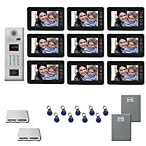 Video Entry Intercom System Nine 7 inch color monitor door panel kit