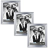 Icona Bay 8x10 Picture Frame (3 Pack, Silver), Silver Photo Frame 8 x 10, Wall Mount or Table Top, Set of 3 Elegante Collection