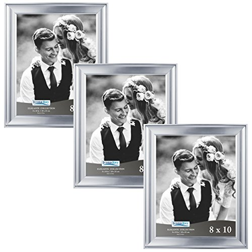 Icona Bay 8 by 10 Picture Frames (8x10, 3 Pack, Silver) Photo Frame, Wall Mount Hangers and Black Velvet Back, Table Top Easel, Landscape as 10x8 Picture Frame or Portrait as 8x10, Elegante Collection