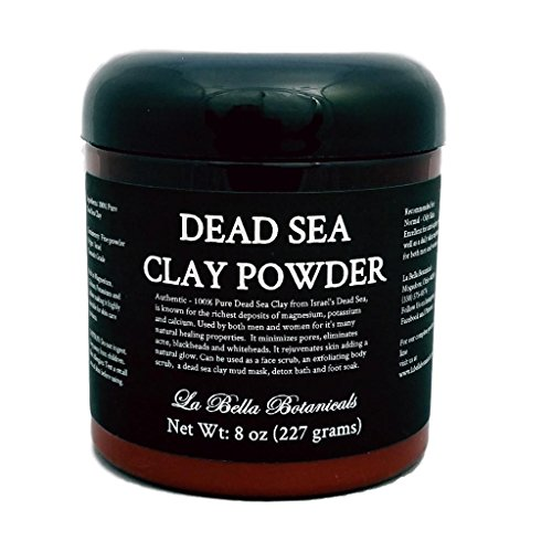 Botanical Mud Powder - Dead Sea Clay Powder, 8 Ounce (440 Gram) DIY Dead Sea Clay Masks, Exfoliating Body Scrub - La Bella Botanicals