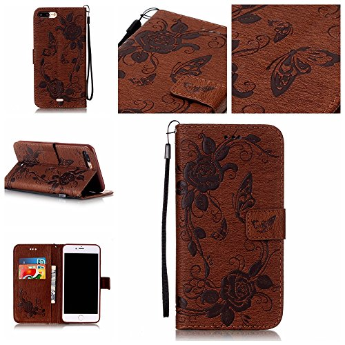 7 Plus Case, iPhone 7 Plus Case, Easytop Premium PU Leather Embossed Butterfly Flower Design Stand Flip Folio Wallet Cover Case with Wrist Strap Magnetic Closure Card Slots for iPhone 7 Plus, Brown