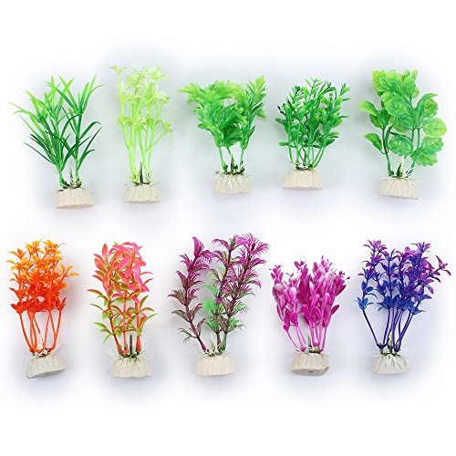 Tanice 10pcs Fake Aquarium Plants Fish Tank Decorations Plants Artificial Plants Plastic (10 Different Styles)