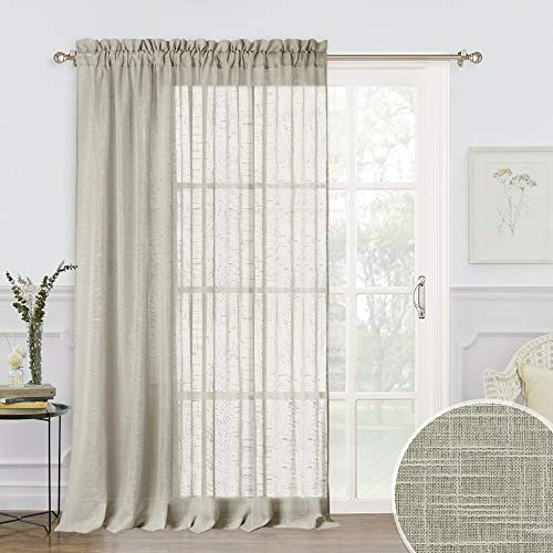 RYB HOME Eatra Wide Sheer Curtains - Sliding Glass Door Curtains Linen Textured Window Panels for Bedroom Living Room, Rural Pastoral Drapery for Farmhouse Patio Door, Taupe, 100 x 84, 1 Pc (Doors Patio Draperies For)