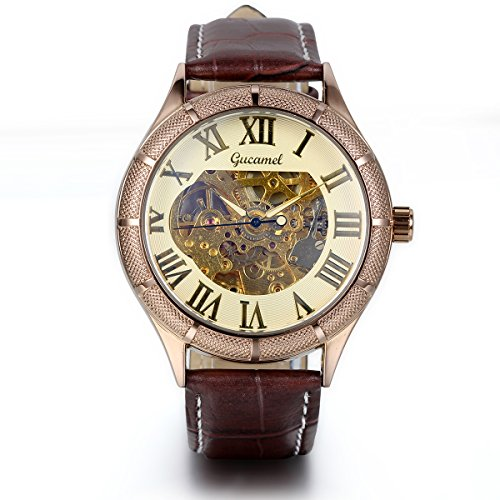 JewelryWe Classic Skeleton Mechanical Movement Wristwatch Brown Leather Business Men's Watch