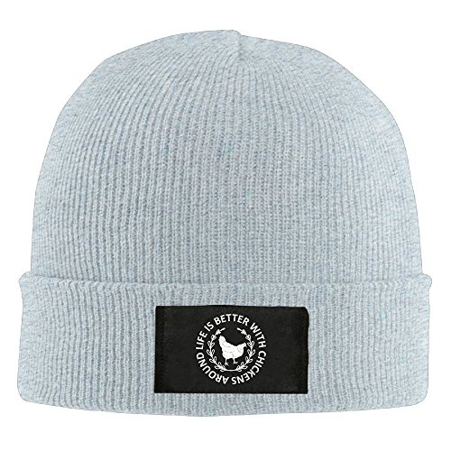CustomHK Cool Beanie Life Is Better With Chickens Around Knit Cap Ash