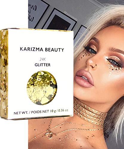 24K Gold Chunky Glitter ✮ KARIZMA Beauty ✮ 10g Festival Glitter Cosmetic Face Body Hair Nails