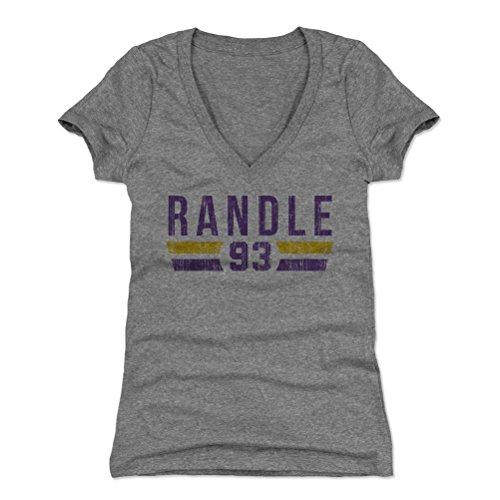 - 500 LEVEL John Randle Women's V-Neck Shirt Small Tri Gray - Vintage Minnesota Football Women's Apparel - John Randle Font P