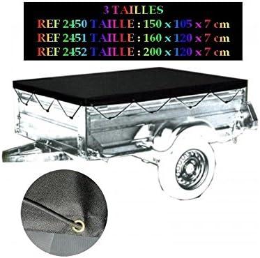 Peraline 2452 Bache De Remorque Plate Polyester//PVC Noir 200 x 120 x 7 cm
