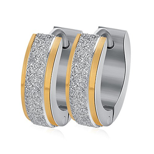 INRENG Unisex Stainless Steel Sandblast Hoop Huggie Earrings for Men Women Silver Gold Plated