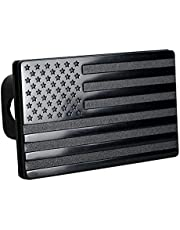 Kaxofang American Flag Hitch Cover- Metal USA Flag Trailer Hitch Cover-Patriotic Flag Plug Hitch Cover (Fits 2 inch Receivers)