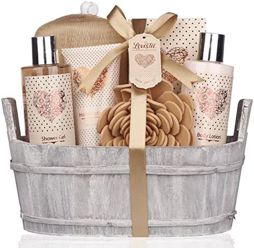 Spa Gift Basket – Bath and Body Set with Vanilla Fragrance by Lovestee - Bath Gift Basket Includes Shower Gel, Body Lotion, Hand Lotion, Bath Salt, Eva Sponge and a Bath Puff