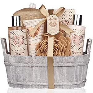 Spa Gift Basket – Bath and Body Set with Vanilla Fragrance by Lovestee – Bath Gift Basket Includes Shower Gel, Body Lotion, Hand Lotion, Bath Salt, Eva Sponge and a Bath Puff