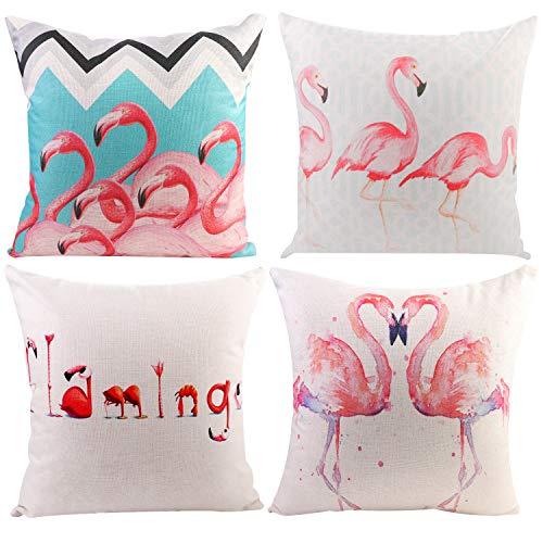 (JOTOM Set of 4 Flamingo Throw Pillow Covers Cotton Linen Cushion Cover Home Decorative Square Patio Living Room Throw Pillow Case Decor for Sofa Car Bed 18x18 Inch)