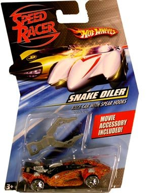 Speed Racer snake oiler race car with spear hooks- Hot Wheels character model car ()