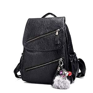 mochila para Mujer Bolsa de Asas Moda Casual Cuero Suave Suave Cuero Lavado (Negro)