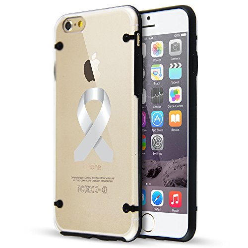 Apple iPhone Ultra Thin Transparent Clear Hard TPU Case Cover Diabetes Brain Cancer Parkinson's Disease Lung Cancer Color Awareness Ribbon (Black For iPhone 7)