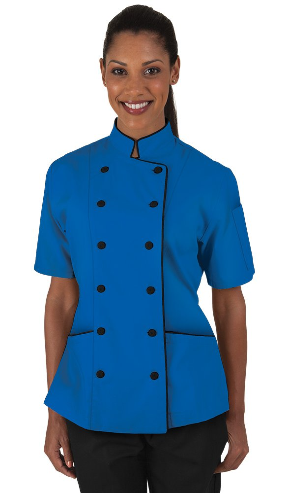 Women's Ocean Blue Chef Coat with Piping (XS-3X) (Large)