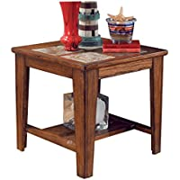 Ashley Furniture Signature Design - Toscana Square End Table - Slate Tile Top and 1 Fixed Shelf - Vintage Casual - Rustic Brown