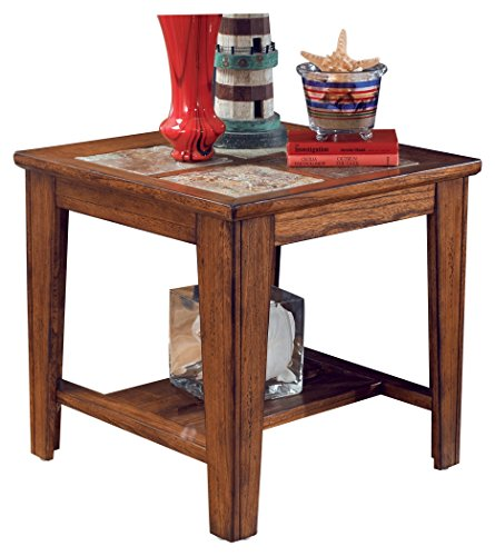 Ashley Furniture Signature Design - Toscana Square End Table - Slate Tile Top and 1 Fixed Shelf - Vintage Casual - Rustic Brown (Decorated Square Knob)