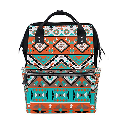 TropicalLife Ethnic Tribal Geometric Diaper Backpack Large Capacity Baby Bags Multi-Function Zipper Casual Travel Backpacks for Mom Dad Unisex