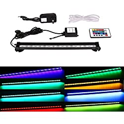 Xcellent Global Multi-color Remote 12 Inch 18 RGB LED 16 Color Underwater Submersible Aquarium LED Light Air Pump Bubble Light Strip & Airstone for Aquarium Fish Tank Flood Lights with US Plug LD074S