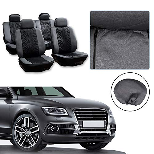 Dodge Colt Car Covers - cciyu Universal Seat Cover w/Headrest Covers - 100% Breathable Car Seat Cover Washable Auto Covers Replacement fit for Most Cars(Black/Gray)