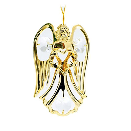 Guardian Angel Glass Top Table (24K Gold Plated Crystal Studded Guardian Angel with Heart Ornament by Matashi)