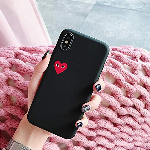 Japan CDG Play Comme des Garcons IMD Protect Cover case for iPhone Plus 7 7plus 8 8plus X XR XS Max Phone Cases (Black, iPhone XR)