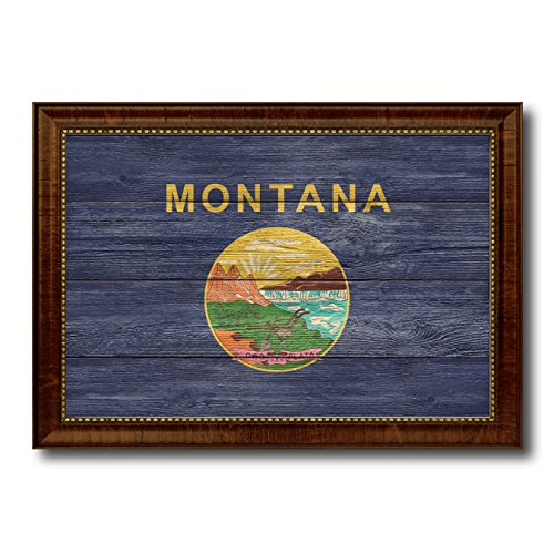 - Montana State Flag Textured Canvas Print with Brown Picture Frame Gifts Home Decor Wall Art Decoration, 15