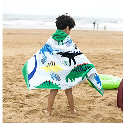 100% Cotton 400 GSM Hooded Poncho Towel,Dinosaur Cute Cartoon Beach Pool Bath Towel for Boys (Hooded Towel Boys)