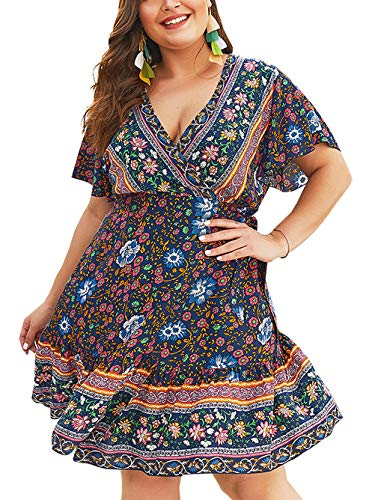 Printed Belted Empire Waist Dress - Kaei&Shi Plus Size Wrap Mini Dresses,Belted Empire Waist Tropical Boho Dresses for Women,Print Floral Dress 1X Blue X-Large