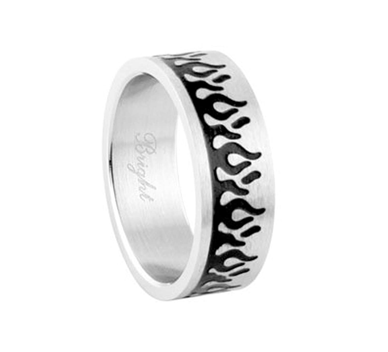 Mens Biker Rings Black Flames Ring Gothic Jewelry For Men Outfit Accessories Chopper Motorcycle Fire Size 8 13