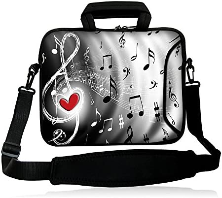 icolor 12″ 13″ Laptop Shoulder Bag Case Universal Netbook Messenger Cover Sleeve Carrying Holder w/strap Compatible 12.5″~13.3 inch Notbook Computer Tablet-red heart