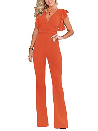 71334a15420d Amazon.com  SuitU Womens Deep V Neck Ruffle Sleeve High Waist Wide Leg  Pants Bodycon Jumpsuit Rompers  Clothing
