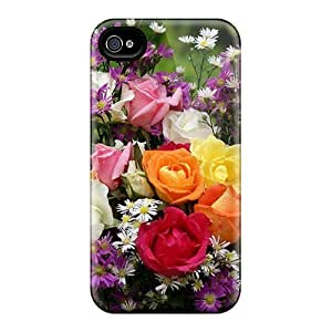 Luoxunmobile333 Scratch-free Phone Cases Samsung Galxy S4 I9500/I9502 - Retail Packaging - Roses With Wild Flowers Kimberly Kurzendoerfer