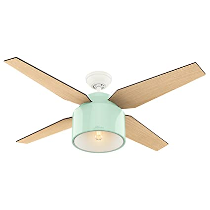 Hunter 59258 Contemporary Cranbrook Mint Ceiling Fan With Light U0026 Remote,  ...