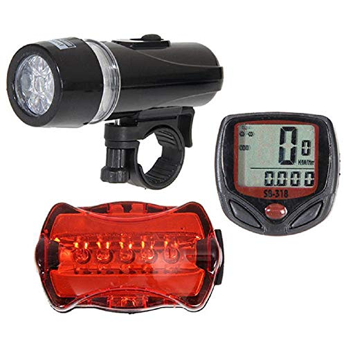Orcbee  _Bicycle Speedometer + 5 LED Mountain Bike Cycling Light Head + Rear Lamp New