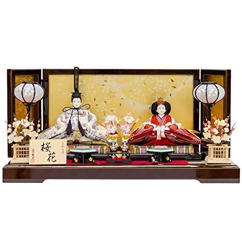 雛人形 山口政子 親王飾り 平飾り 紅溜塗 幅60cm [fz-71] ひな人形   B07K78Z5F8