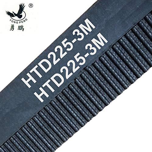 Ochoos 1pc HTD3M 225 17 Timing Belt Teeth 75 Width 17mm Length 225mm Rubber Closed-Loop 225-3M-17
