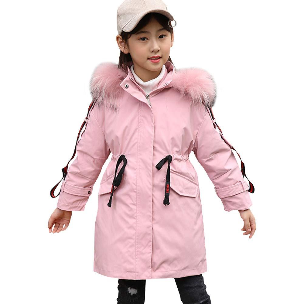 Rose 4-5 ans   110 LSERVER Fille Enfant Manteau Militaire Hiver Chaud Fourrure avec Capuche Rembourrée Veste Doubleure Amovible