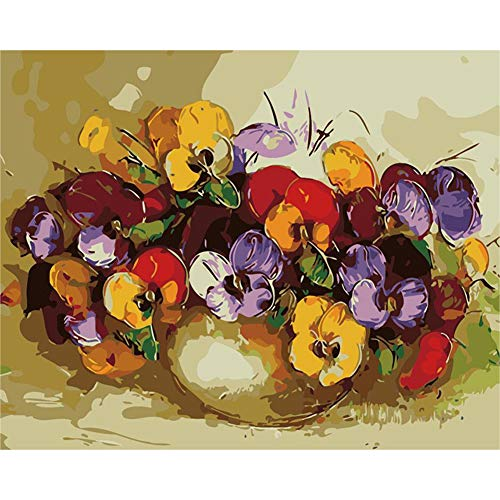 DIY Paint by Numbers for Adults DIY Oil Painting Kit for Kids Beginner Iris Flower 16x20 inch(Wood Framed)