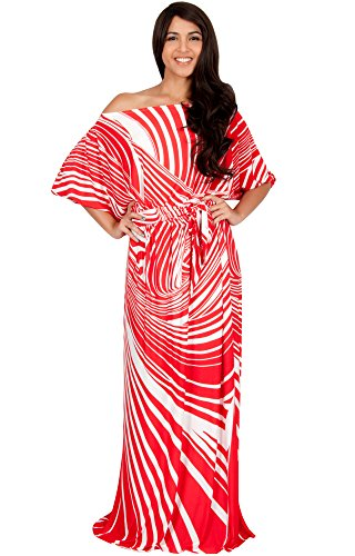 KOH KOH Plus Size Women Long One Off Shoulder Summer Printed 3/4 Short Sleeve Cute Boho Maternity Casual Flowy Sundresses Gown Gowns Maxi Dress Dresses, Red and White 4 X 26-28 (3)