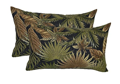 Set of 2 Indoor / Outdoor Decorative Lumbar / Rectangle Pillows - Tommy Bahama Bahamian Breeze - Black, Tan, Green Tropical Palm Leaf - Choose Size (11'' x 19'') by Resort Spa Home Decor