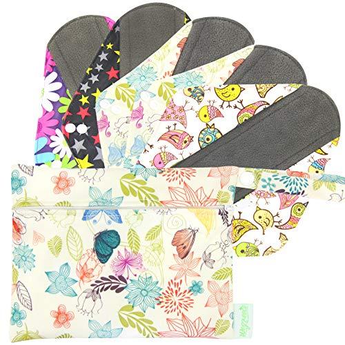 Wegreeco Bamboo Reusable Sanitary Pads - Cloth Sanitary Pads - Pack of 5, 1 Cloth Mini Wet Bag Bonus (Large, Mix Prints)