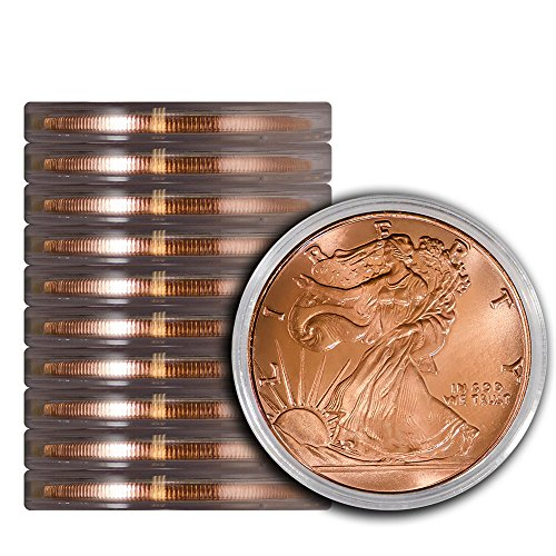 Pack of 10 Walking Liberty 1 oz Copper Round Medallion in Protective Capsules